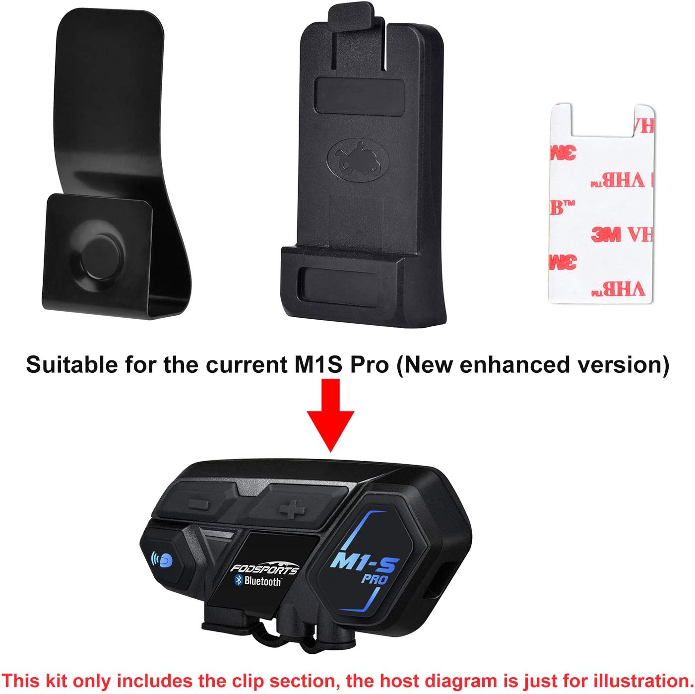 Fodsports M1S Pro Motorcycle Bluetooth Intercom Clips kit