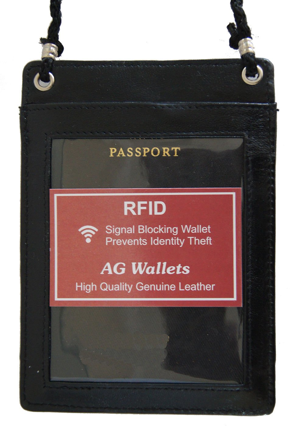 Rfid Blocking Leather Travel Passport Wallet Holder Neck Pouch Safe Bag