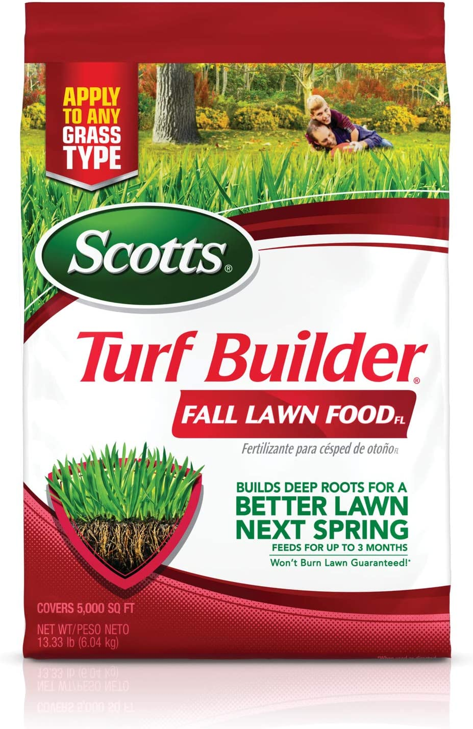 Scotts Turf Builder Fall Lawn FoodFL - 5,000 sq. ft., Lawn Fertilizer Feeds Grass for a Better Lawn Next Spring, Builds Deep Roots, for All Grass Types, 13.33 lbs.