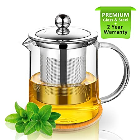 RayPard Tetera, tetera 350 ml Tetera de cristal con infusor y posavasos de madera, para calentar y hornillo, seguro, colador de té para té y té, ...