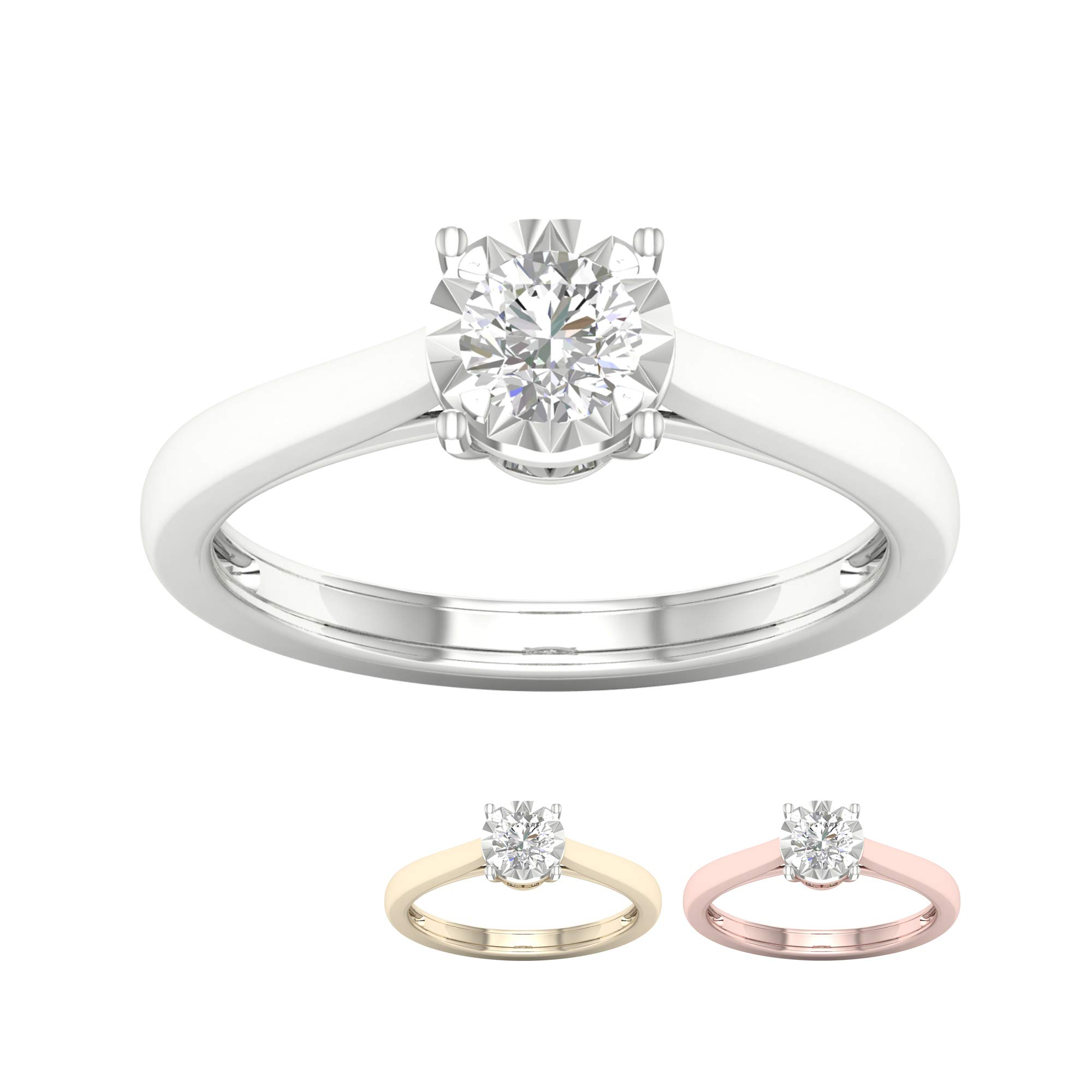 IGI Certified 10k Yellow Gold 1/4Ct TDW Round Diamond Solitaire Engagement Ring (I-J,I2)