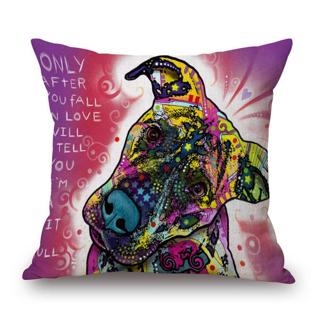 Year End Clearance Sale-Valentoria®Colorful Dog Cat Cotton Linen Square Decorative Throw Pillow Case Cushion Cover 18x18 Inch (18 inch*18 inch, Dog f) easygogo