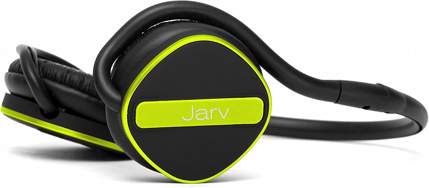 Jarv Joggerz PRO Sports Wireless Headphones with Built-in Microphone, Foldable Design and Universal Fit - 20 Hours of Talk Time - Black/Green