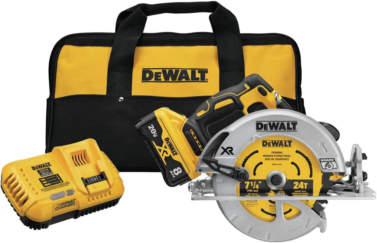 DEWALT 20V MAX XR Circular Saw, 7-1/4-Inch, Brushless, Power Detect Tool Technology (DCS574W1)
