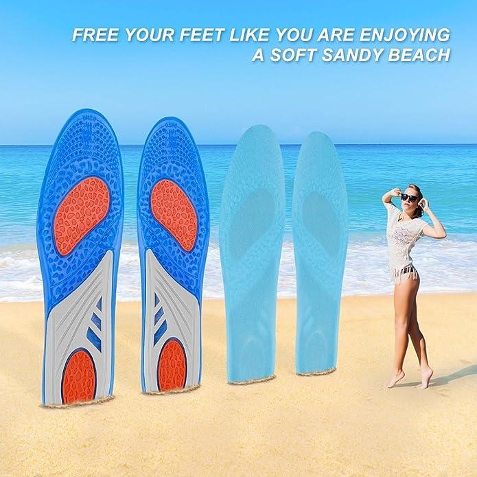LifeBee Plantillas GEL Sports Orthotic, insertos de suelas de gel de longitud completa para la absorción de impactos, protección del talón y soporte ...