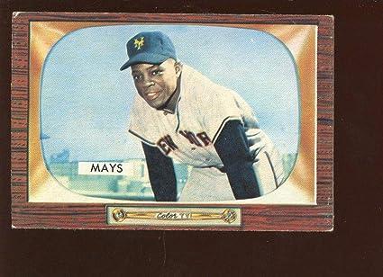 Amazoncom 1955 Bowman Baseball Card 184 Willie Mays Ex