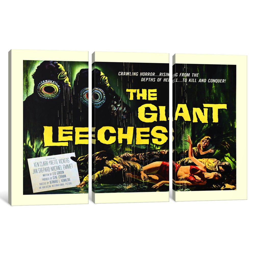 iCanvasART 3-Piece Attack of The Giant Leeches Vintage Horror Movie Poster Canvas Print by Unknown Artist 1.5 x 60 x 40-Inch