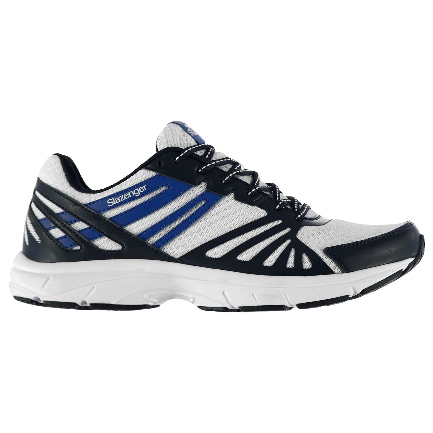 Slazenger Kids Dash Jogger Trainers Shoes Lace Up Mesh Padded Ankle Collar White/Navy UK 3 (36)