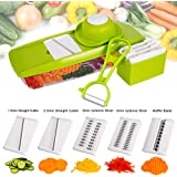 Mandoline Slicer Spiralizer Vegetable Slicer - Empino Veggie Slicer Mandoline Food Slicer with Julienne Grater - Mandoline Cutter - Vegetable Cutter Food Chopper - Vegetable Spiralizer with Peeler