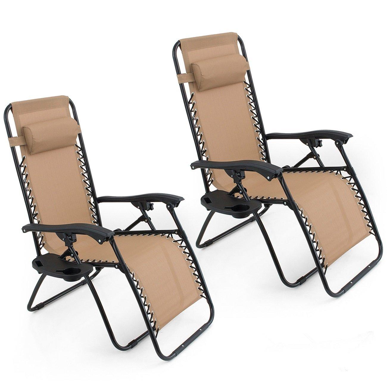 Genial Amazon.com : Oshion 1 Pair Zero Gravity Chairs Black Lounge Patio Chairs  Outdoor Yard Beach New (Tan) : Garden U0026 Outdoor