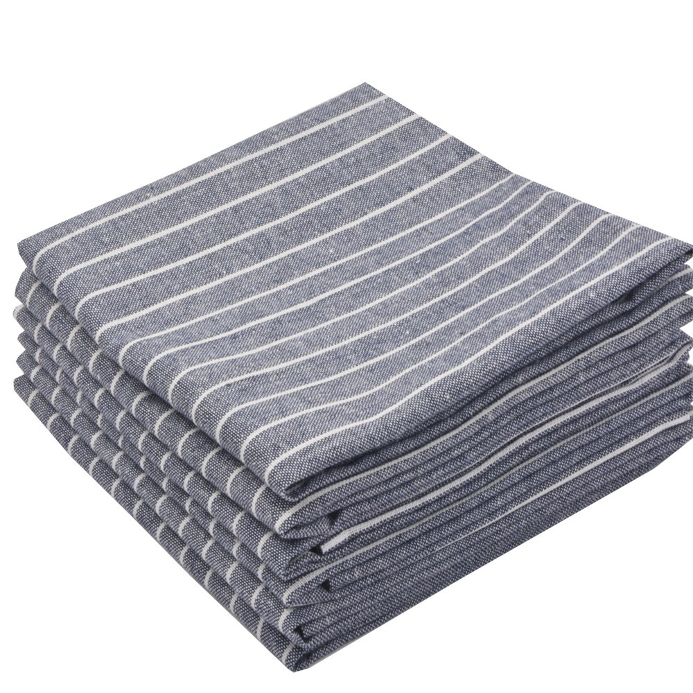 Sinland Linen Napkins Oversized Dinner Napkins Tailored with Mitered Corners and a Generous Hem 20Inch x 20Inch 6 Packs (Grey Blue) by Sinland (Image #3)