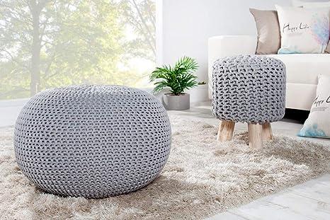 Invicta Interior Design Pouf LEEDS 50 cm grau Bezug aus Strick Garn Sitzgelegenheit Fu/ßhocker Sitzpouf gepolstert Sitzkissen