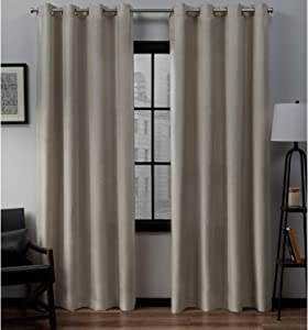 Exclusive Home Curtains Loha Linen Grommet Top Curtain Panel Pair, 52x96, Natural