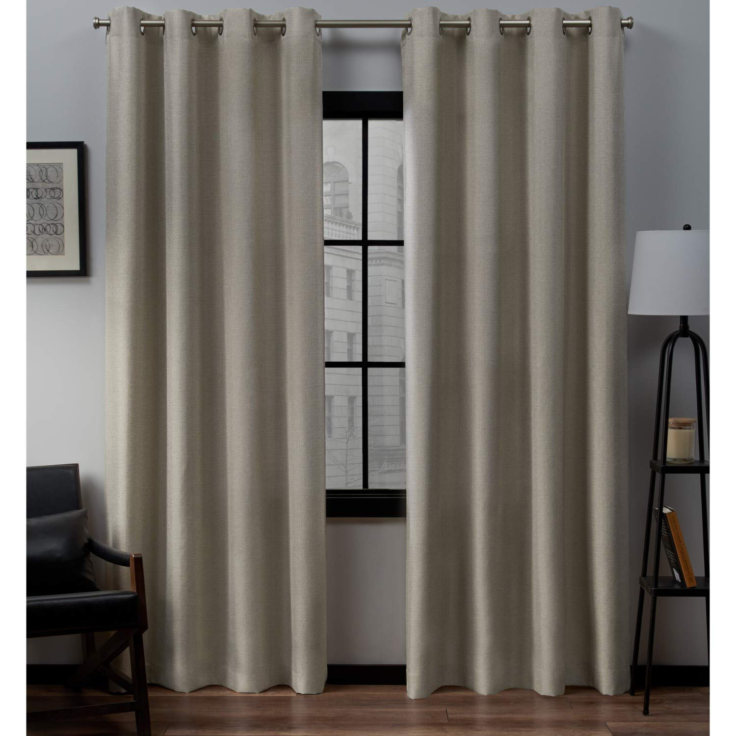 Exclusive Home Curtains Loha Linen Grommet Top Curtain Panel Pair, 52x84, Natural