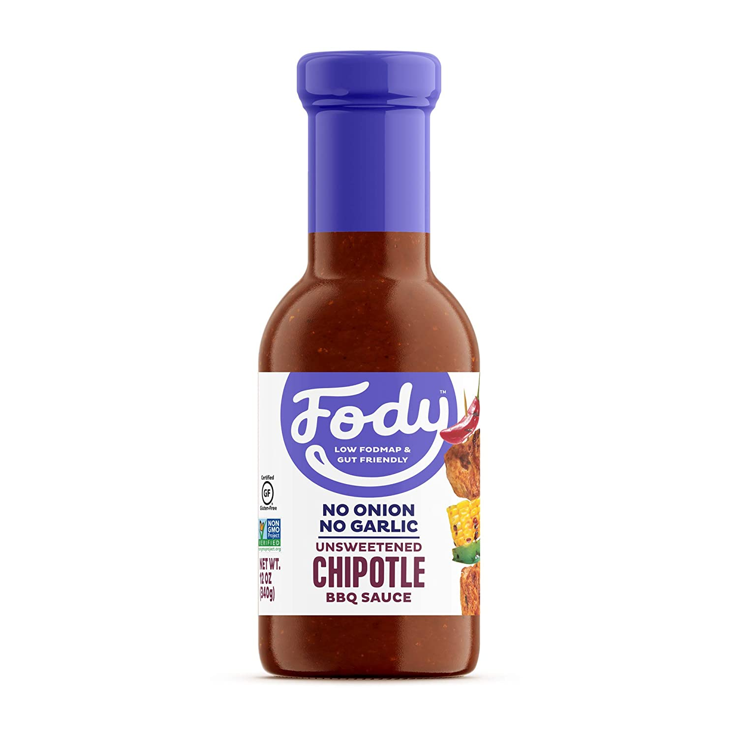 Fody Foods Unsweetened Chipotle BBQ Sauce | Low FODMAP Certified | Gut Friendly, No Onion, No Garlic | IBS Friendly Kitchen Staple | Gluten Free, Lactose Free, Non GMO