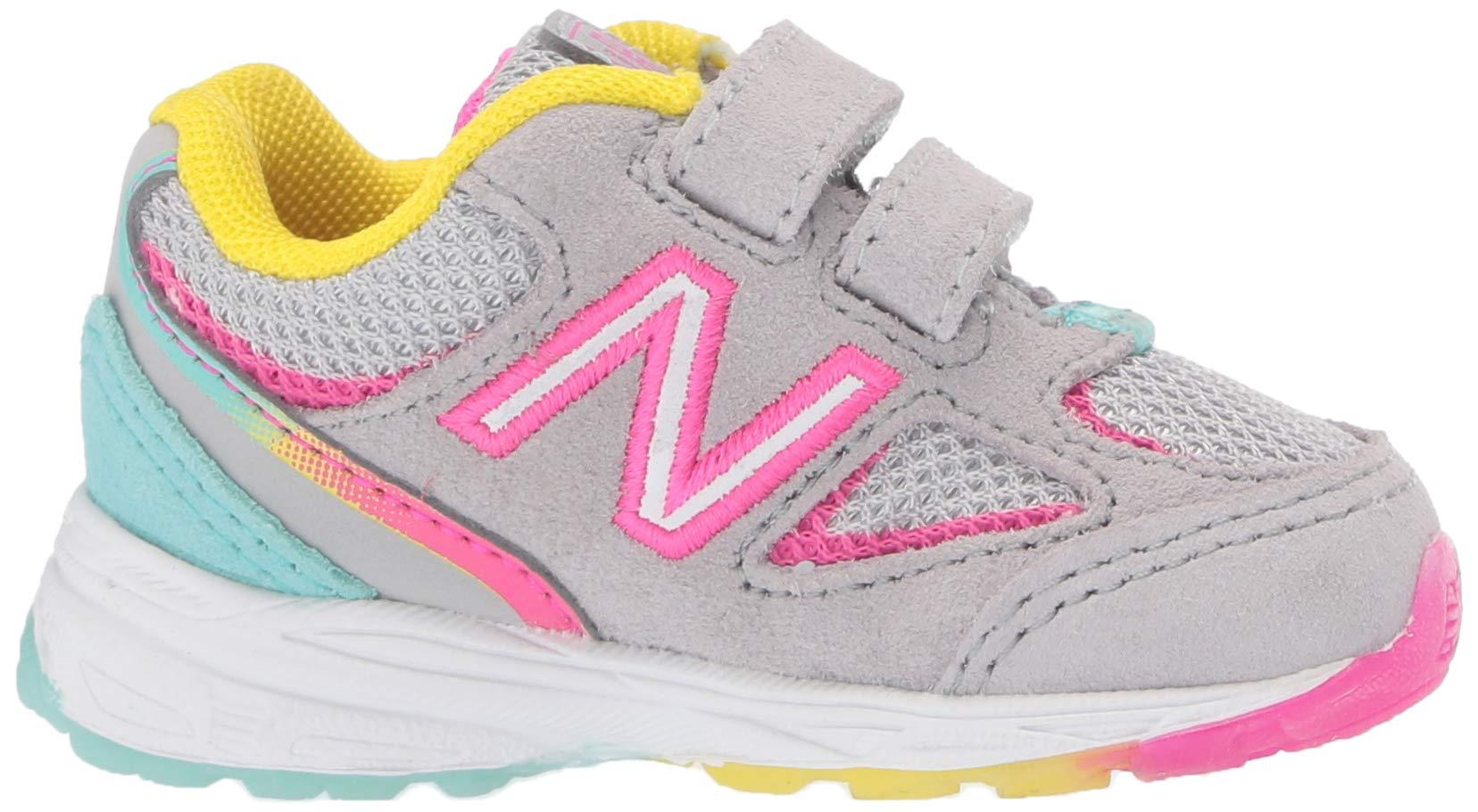 New Balance Girls' 888v2 Hook and Loop Running Shoe, Grey/Rainbow, 2 W US Infant by New Balance (Image #7)