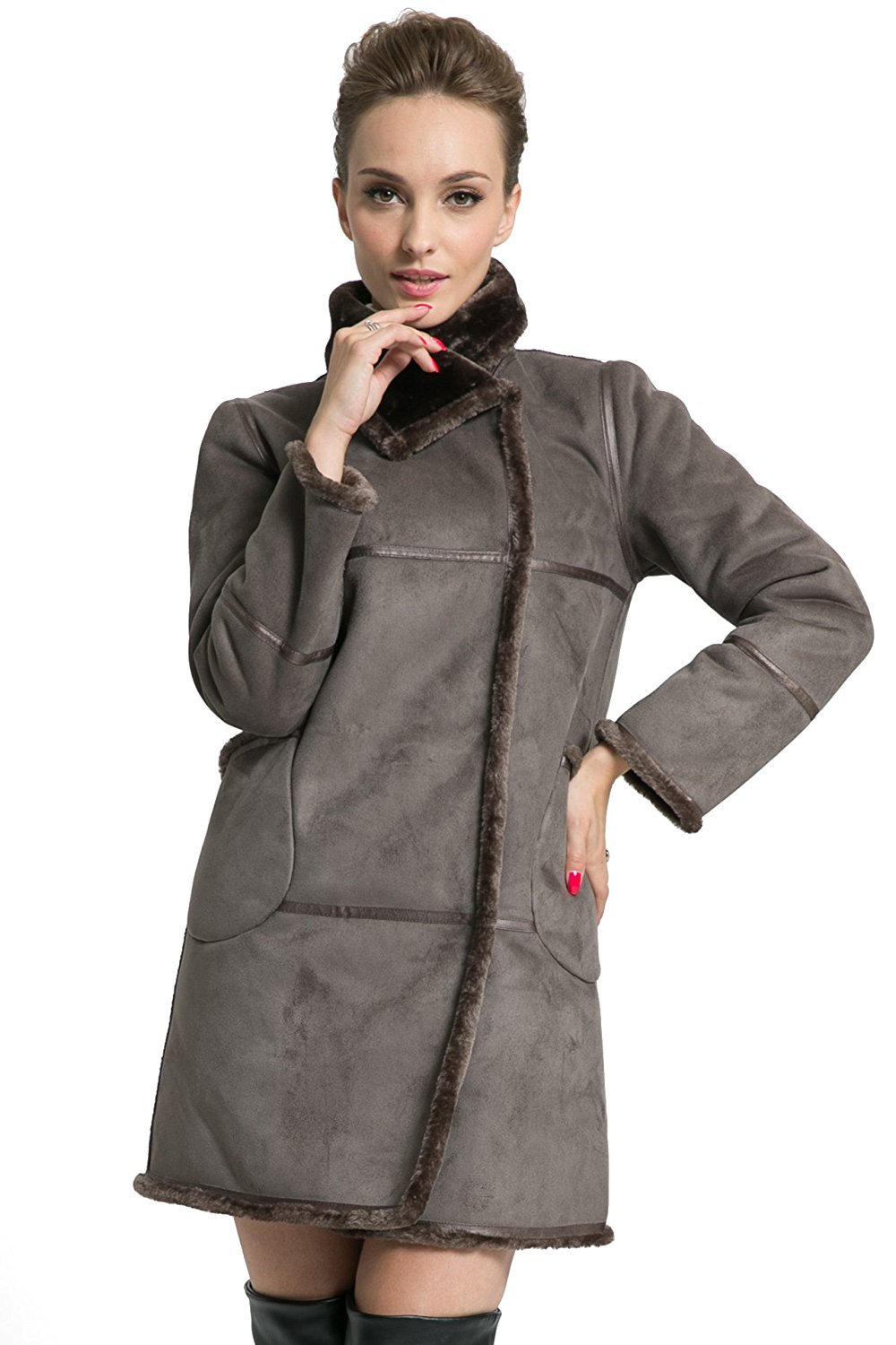 Ovonzo Women's Winter Style Soft Faux Suede Leather Pea Coat Hip Length Grey Size S by OVONZO