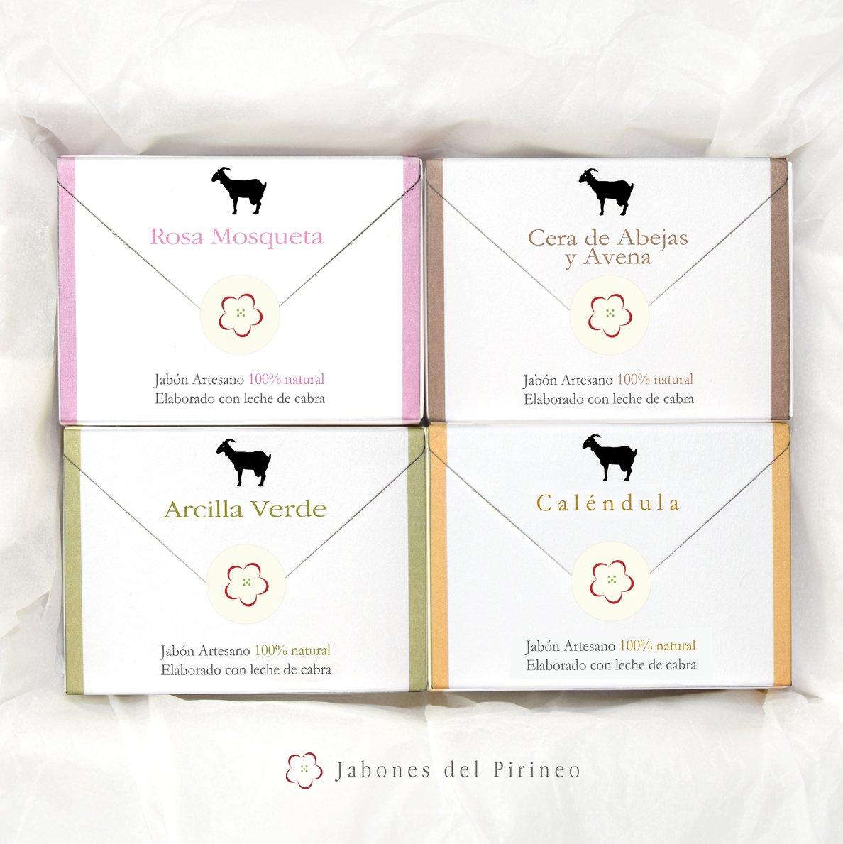 Jabones del Pirineo - Pack de Jabones de Leche de Cabra 100% Naturales, 4 Tipos, con Arcilla Verde, Con Rosa Mosqueta, con Caléndula y con Cera de Abejas y ...