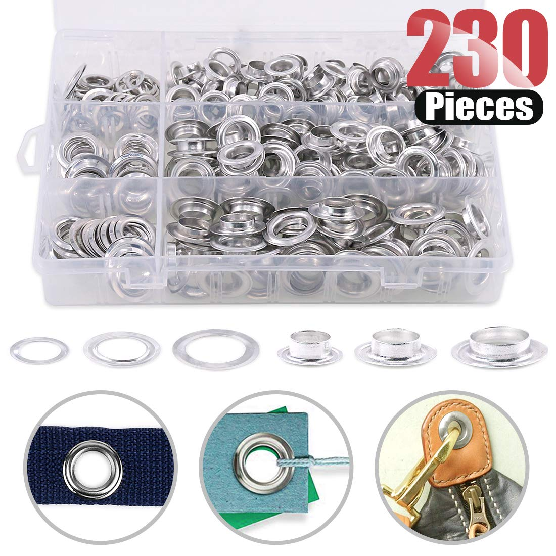 """Hilitchi 230 Sets 2/5"""" 1/2"""" 14/25"""" Aluminum Heavy Duty Grommets Eyelets with Washers for Curtain Leather Canvas Belts and DIY with Storage Box"""