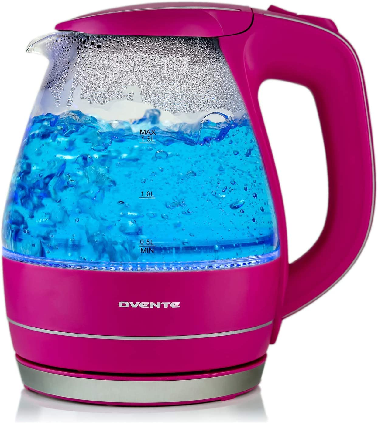 OVENTE 1.5L BPA-Free Glass Electric Kettle, Fast Heating with Auto Shut-Off and Boil-Dry Protection, Fuchsia Pink (KG83F)