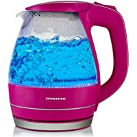 Ovente 1.5L BPA-Free Glass Electric Kettle, Fast Heating with Auto Shut-Off and Boil-Dry Protection, Cordless, LED Light Indicator