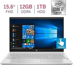 HP Pavilion 15.6-inch Touchscreen FHD(1920x1080) IPS Laptop PC, 10th Gen Quad Core Intel i7-1065G7 Processor, 12GB DDR4, 1TB HDD, Bluetooth, HDMI, B&O Play Audio, Win 10 (Renewed)
