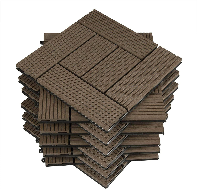 WOLTU 11x Suelo de WPC Baldosas de Madera Exterior para Porche Patios Jardin, 30 x 30 cm 1m² Suelo de Exterior Compuesta Azulejos Baldosas de WPC para Terraza Marrón: Amazon.es: Bricolaje y