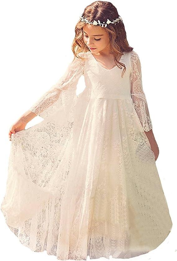 Babyonline Prinzessin Kleider Mädchen Festlich Spitze Blumenmädchen Kleider  Langarm Gr.9-9