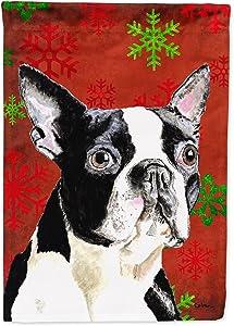 Caroline's Treasures SC9400GF Boston Terrier Red Green Snowflakes Christmas Flag Garden Size, Small, Multicolor