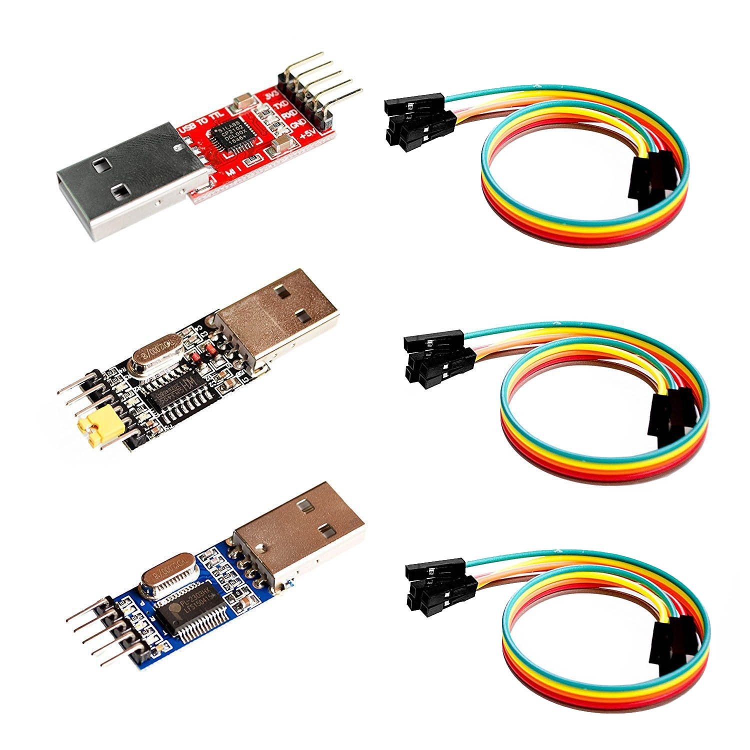 LGDEHOME USB to TTL Seria Converter Adapter 3 in 1 (PL2303+ CP2102+ CH340) ,3Pcs 20cm long STC Microcontroller Download Cable, 4 p dupont line