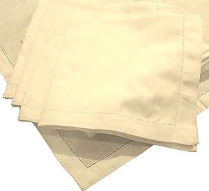 American Pillowcase Hemstitch Dinner Napkins Set of 12 - Ivory - One Dozen - 100% Egyptian Cotton - Elegant Cloth - Super Value Bulk 12 Pack