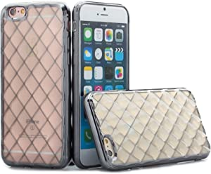 Apple iPhone 6S / 6 | iCues Pasilla Case Black | Rubber Cover Bling Diamond Crystal Glitter Chrome Women Girl Silicone Shell