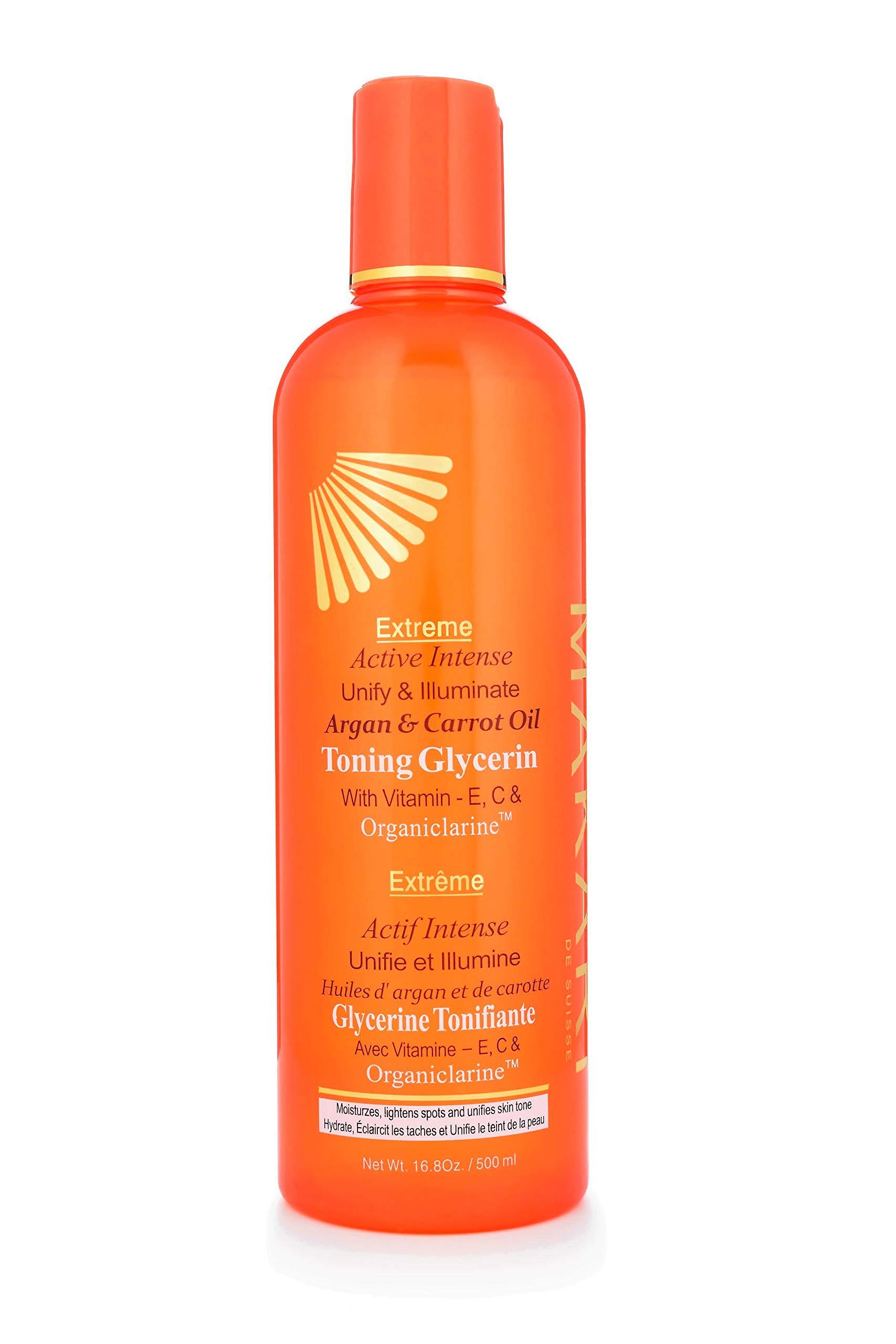 Makari Extreme Carrot & Argan Oil Skin Toning BODY Glycerin 16.8oz - Lightening & Tightening Moisturizer for Face & Body with Organiclarine - Whitening Treatment for Dark Spots, Wrinkles & Dryness