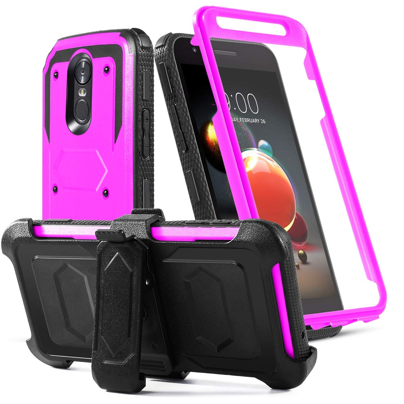 LG Aristo 2 Case/LG Rebel 4 lte/Tribute Dynasty/Tribute Empire/Zone 4/K8+/K8S/Fortune 2/Risio 3/Phonenix 4/Phone Case Built-in[Screen Protector]w/Belt Clip[Kickstand]Heavy Duty Full Body Case,Purple
