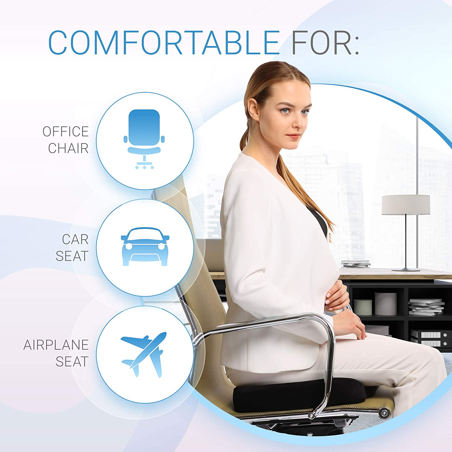 Everlasting Comfort Memory Foam Seat Cushion Designed for Back Hip and Tailbone Pain  Fits Office