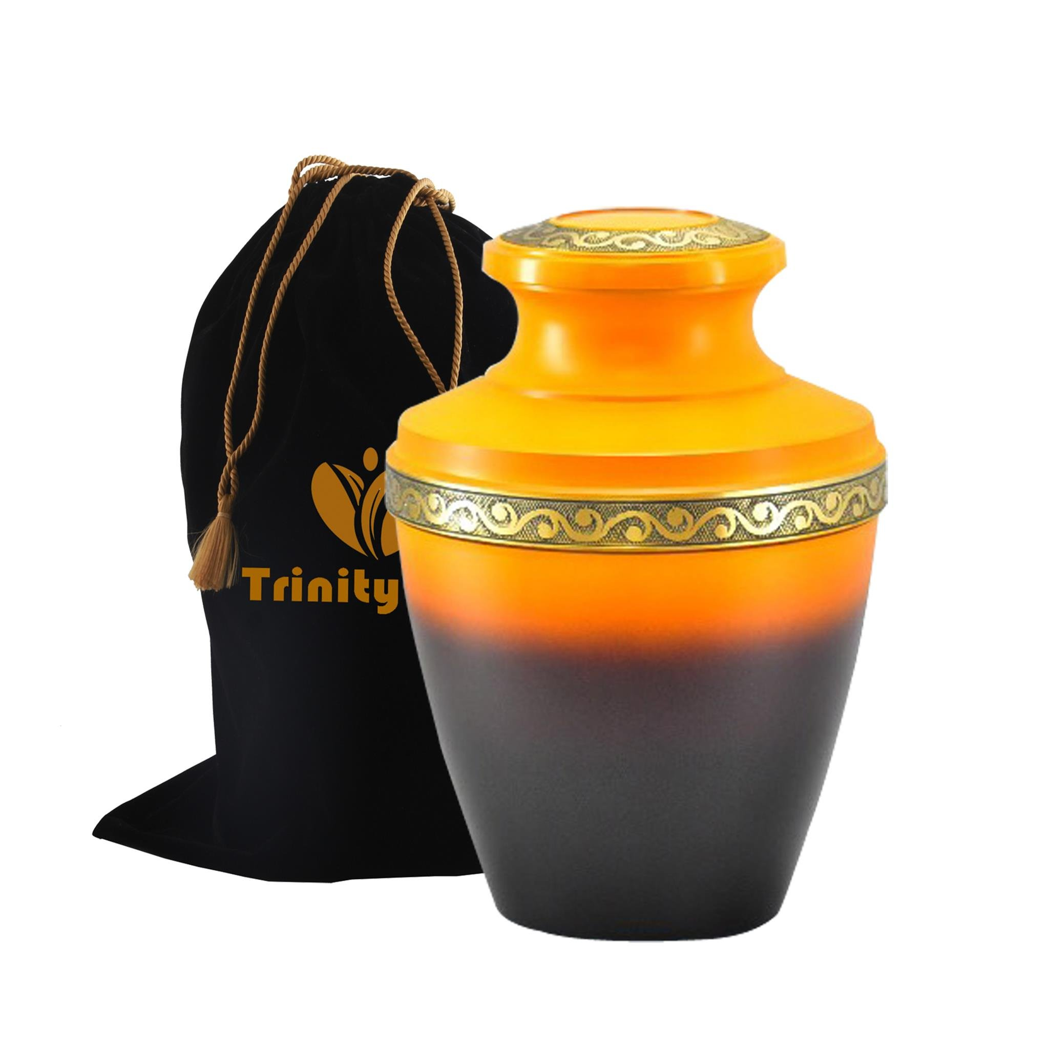 Golden Sunset Brass Cremation Urn - Beautifully Handcrafted Adult Funeral Urn - Solid Brass Funeral Urn - Affordable Urn for Human Ashes with Free Velvet Bag by Trinityurns