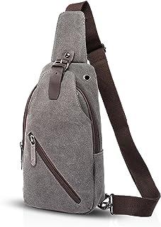 FANDARE Vintage Sling Bag Messenger Bag One Shoulder Backpack Crossbody Bag Travel Bag Women/Men Canvas Black