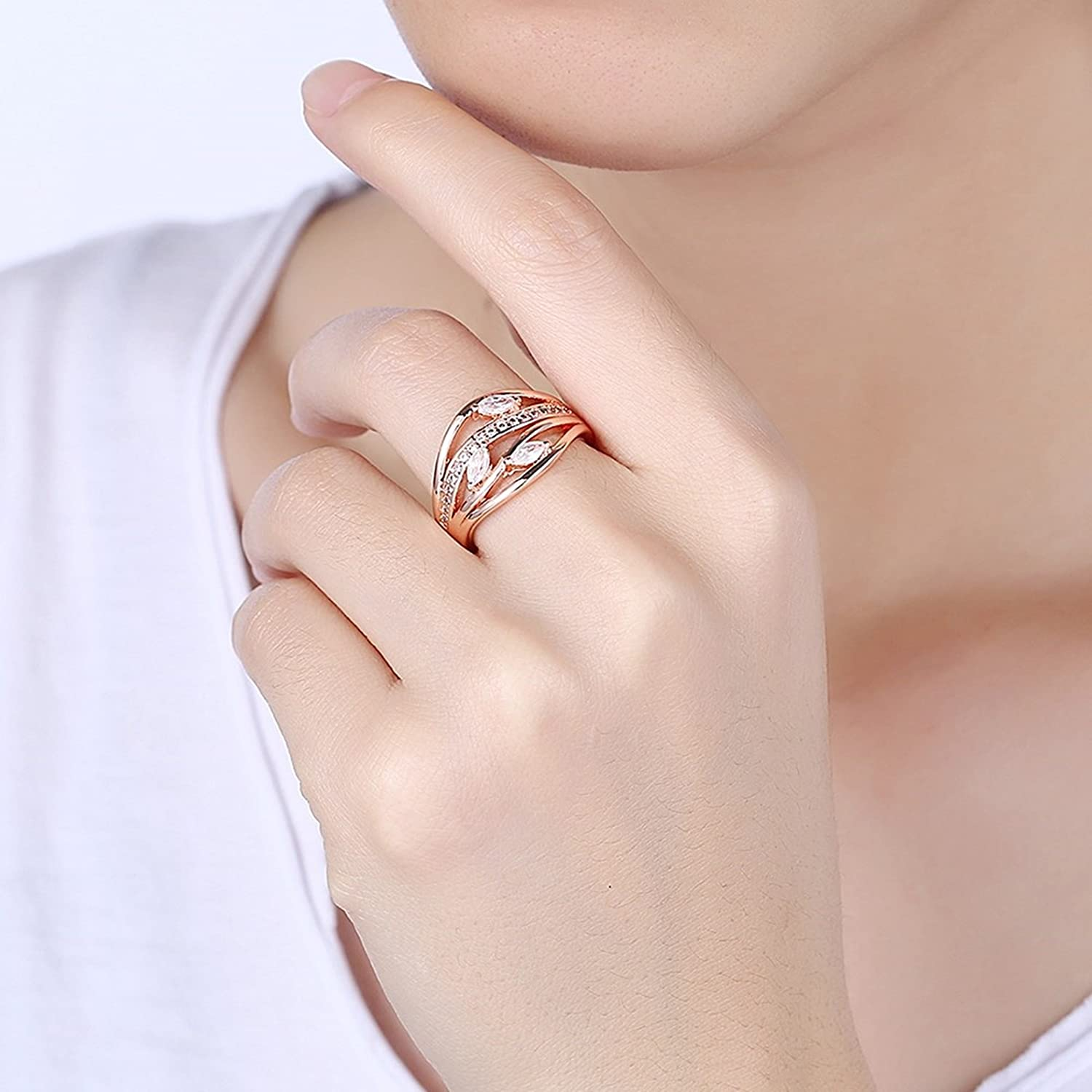 Amazon.com: MoAndy Rose Gold Plated Ring For Women Cubic Zirconia ...