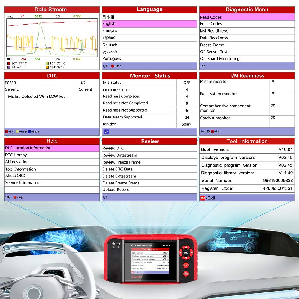 LAUNCH OBD2 Scanner CRP123 Check Engine/Transmission/Airbag/ABS Car Fault Code Reader,Live Data Graphing,Free Update, Car Panel Removal Tool As Gift by LAUNCH (Image #3)