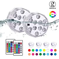 TEPENAR Submersible Led Lights with Remote - Waterproof Underwater Led Light Battery Operated Controlled 16 Color Changing Lamp with 4pcs Suction Cup for Pool Vase Aquarium Decoration 2 Pack