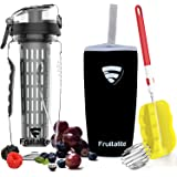 Fruitalite Fruit Infuser Water Bottle- 1 Litre, Colored Tritan Infusion Rod, Cover Sleeve, Infused Detox Water Recipes eBook, Cleaning Brush(Black)