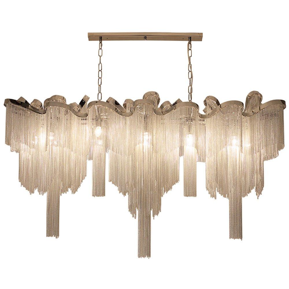 Wenrun Lighting Wohnzimmer Lobby Silber Aluminium Kette Quaste Kronleuchter Deckenlampen Hängelampe Lüster Leuchte Lampen Licht Mit Kaltweiß E14 LED Glühbirne (L120cm x W40cm x H90cm)