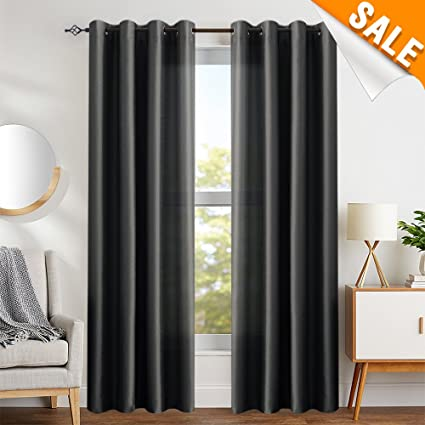 7de10380671 Faux Silk Curtains Black 84 inches Long Satin Curtain Panels for Bedroom  Light Filtering Privacy Dupioni