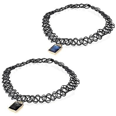 8446966cbf35 JewelryWe Joyería 2pcs Collar Gargantilla Henna Tatuaje Elástico Vintage  Choker Negro