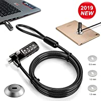 [2019 Upgraded] Computer Lock + Lock Slot Plate- 6.23ft Cable Secure Computer Combination Lock, 4 Digital Password Protection Computer Cable Security, Anti Theft Lock for Computer and Other Devices