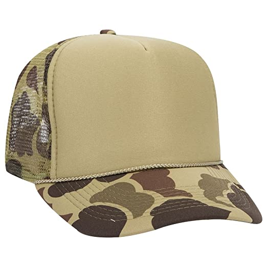 OTTO Camouflage Polyester Foam Front 5 Panel High Crown Mesh Back Trucker  Hat - Grn  30c2c4ce392