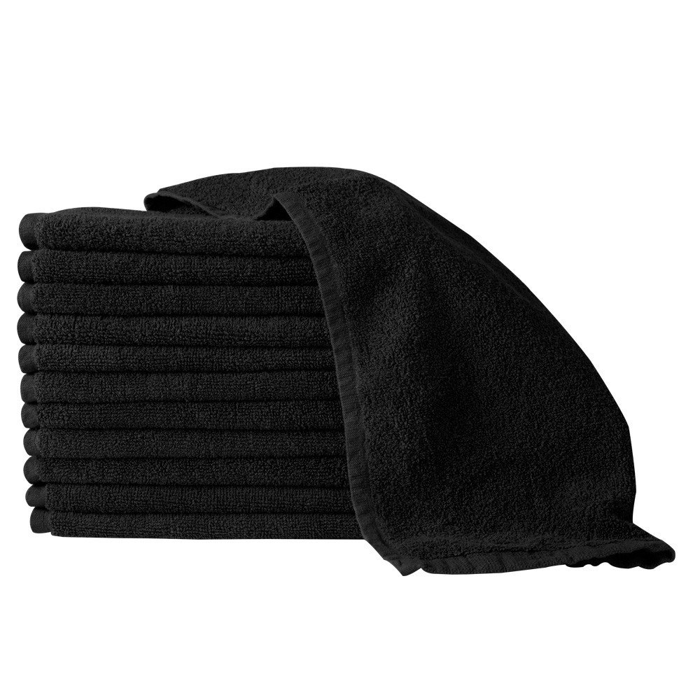 Partex Regal BLACK Bleach Guard Towels (12 Pack) 16'' x 27'' - TL-74072BLK by PARTEX