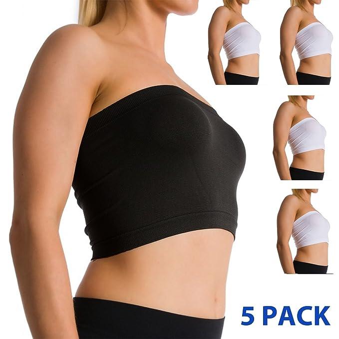 67c5e8fbf2 Women Seamless Strapless Bra Bandeau Fits Fashion Tube Top Sports Bra Yoga  Shirt (5 Pack