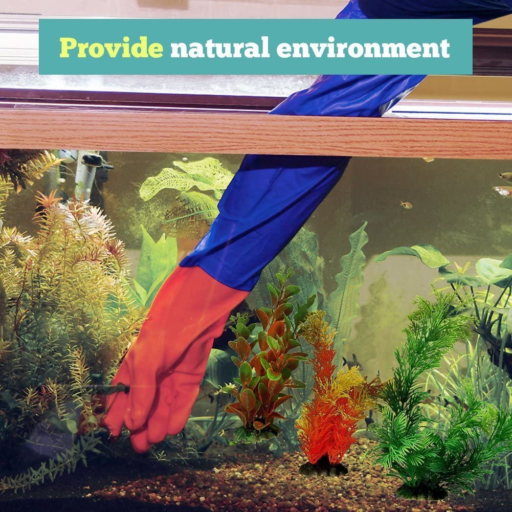 Random Color Premear 10Pcs Fish Tank Aquarium Decorations Ornament Aquarium Plastic Plant Decoration Water Grass Aquatic Plant