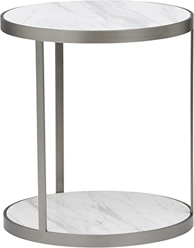 Amazon Brand Rivet Molly Round Marble and Stainless Steel Side End Table